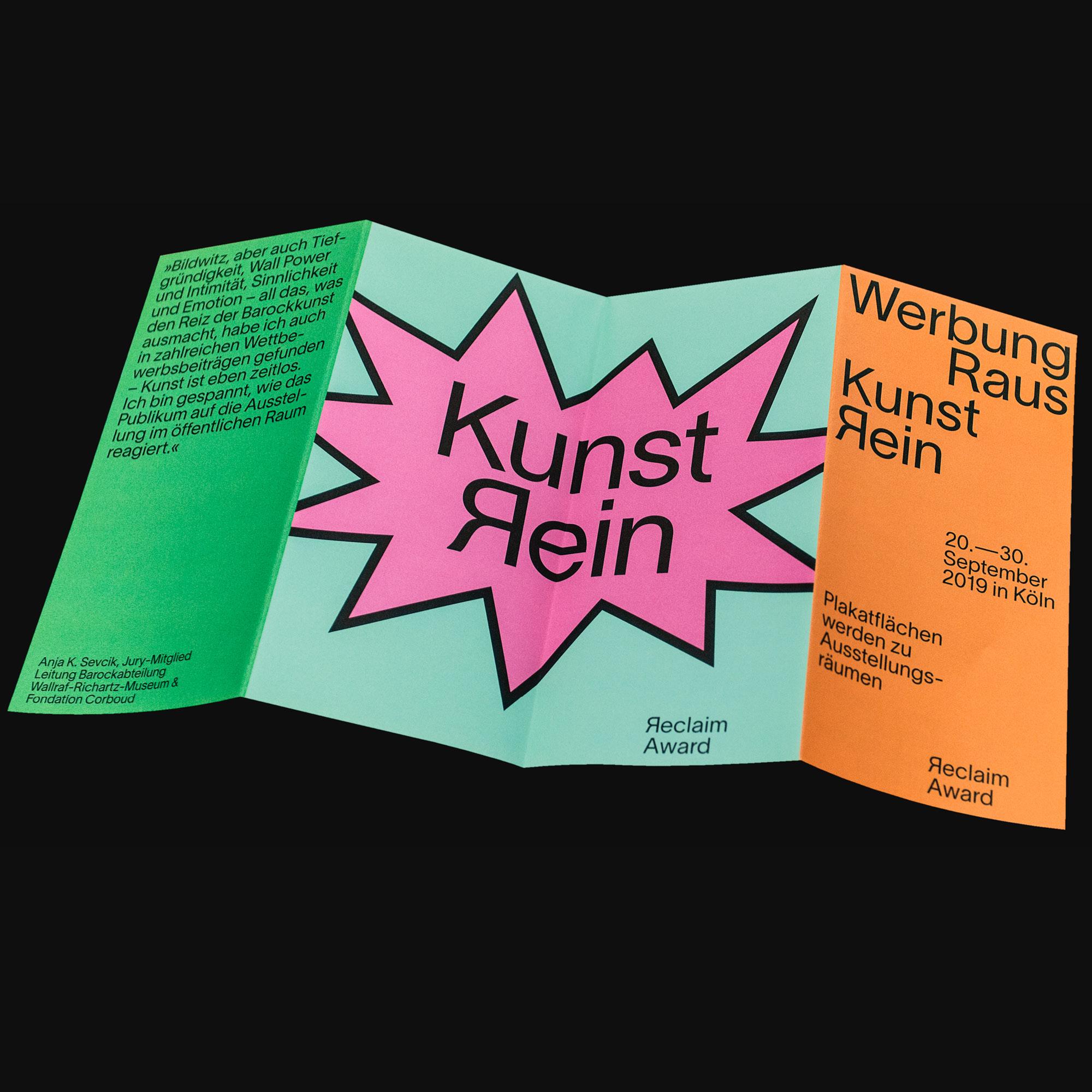 Visuelle Identität für den Reclaim Award Köln. Flyer zur Ankündigung des Events.